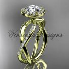 "14kt yellow gold diamond engagement ring, ""Forever One"" Moissanite VD10079"