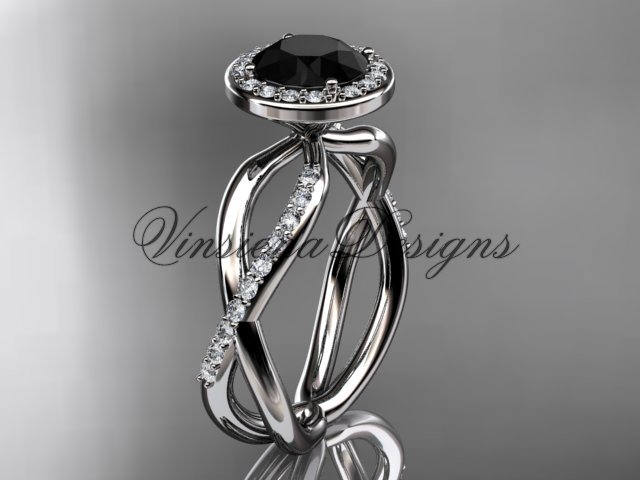 14kt white gold diamond engagement ring, Black Diamond VD10079
