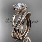 14kt rose gold diamond engagement ring, wedding band, engagement set,  Moissanite VD10079S