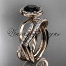 14kt rose gold diamond engagement ring, wedding band, engagement set, Black Diamond VD10079S