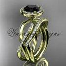 14kt yellow gold diamond engagement ring, wedding band, engagement set, Black Diamond VD10079S