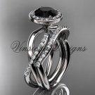 14kt white gold diamond engagement ring, wedding band, engagement set, Black Diamond VD10079S