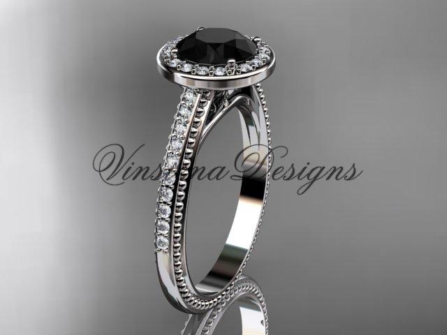 Unique 14k white gold diamond engagement ring, Black Diamond VD10080
