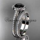 Unique 14k white gold diamond engagement ring, engagement set, Black Diamond VD10080S