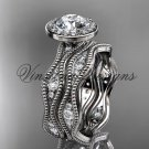 """14k white gold diamond engagement ring, """"Forever One"""" Moissanite VD10081S"""