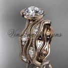 14k rose gold diamond engagement ring, engagement set VD10081S