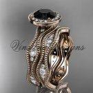14k rose gold diamond engagement ring, Black Diamond VD10081S