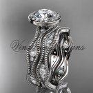"""Platinum diamond engagement ring, """"Forever One"""" Moissanite VD10081S"""