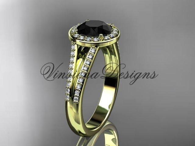 14k yellow gold diamond engagement ring, Black Diamond VD10083