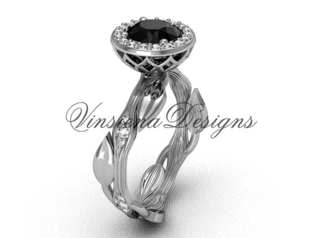 14kt white gold diamond leaf and vine engagement ring, Black Diamond VF301002