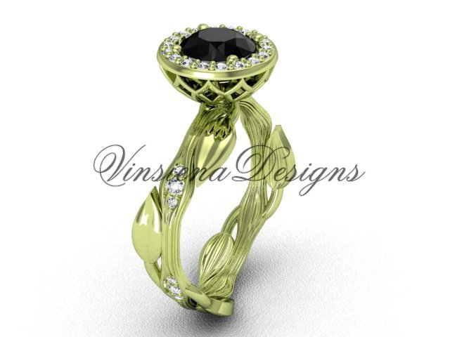 14kt yellow gold diamond leaf and vine engagement ring, Black Diamond VF301002