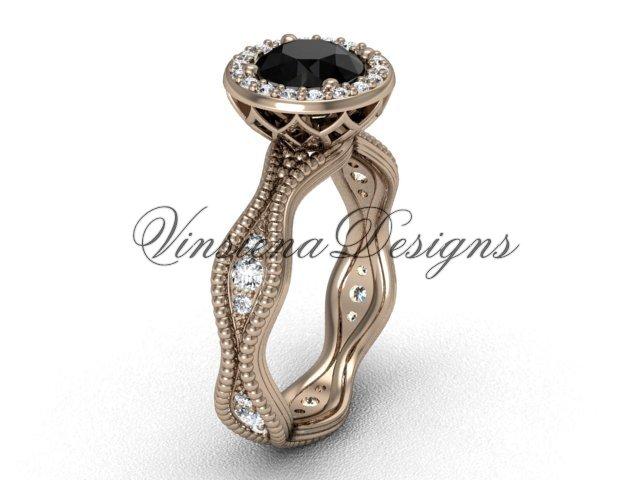 14kt rose gold diamond engagement ring, Black Diamond VF301003