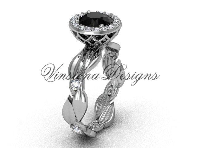 platinum diamond leaf and vine engagement ring, Black Diamond VF301004