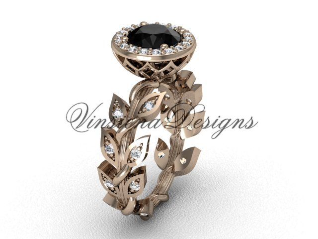 14kt rose gold diamond leaf and vine engagement ring, Black Diamond VF301006