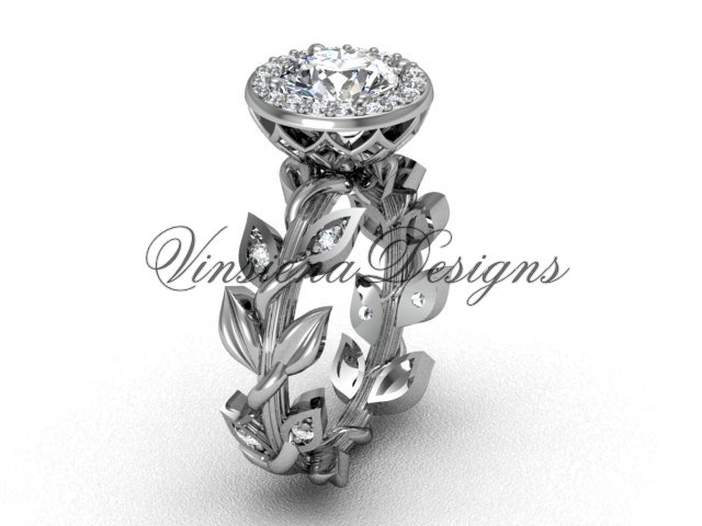 "platinum diamond leaf and vine engagement ring, ""Forever One"" Moissanite VF301007"