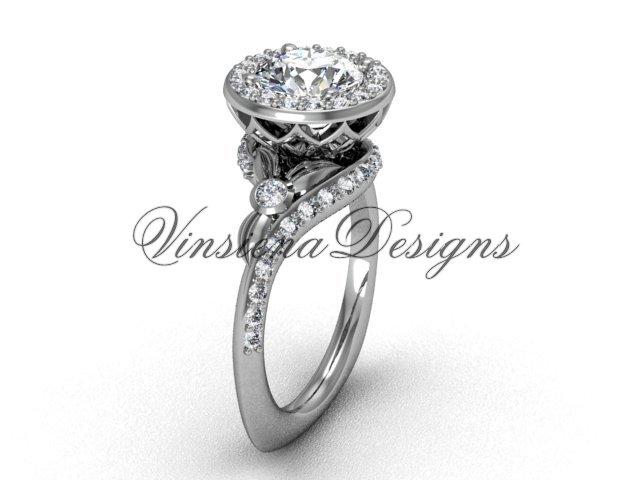 platinum diamond leaf and vine engagement ring VF301008
