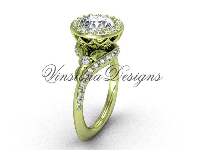 "14kt yellow gold diamond leaf and vine engagement ring, ""Forever One"" Moissanite VF301008"