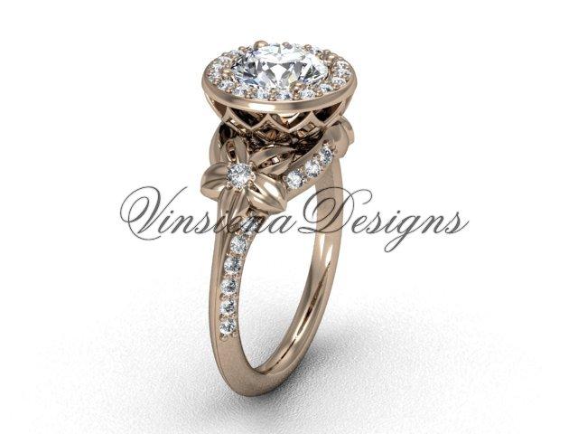 14kt rose gold leaf and vine, flower engagement ring VF301009