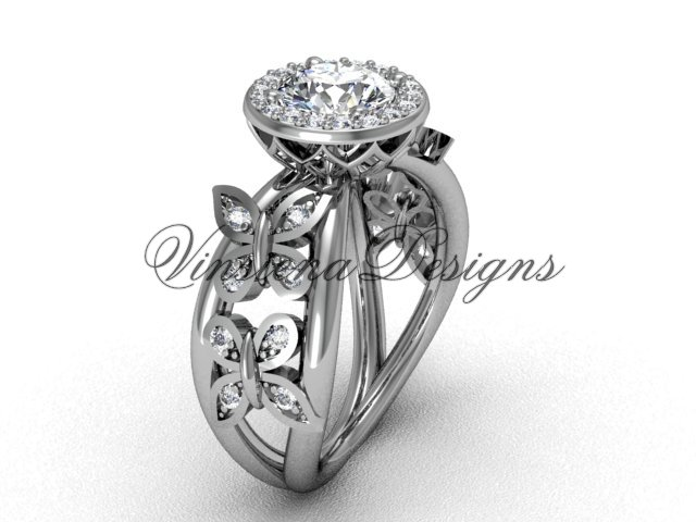 "platinum butterfly engagement ring, ""Forever One"" Moissanite VF301013"