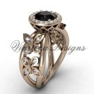 14kt rose gold butterfly engagement ring, Black Diamond VF301013