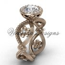 "14kt rose gold flower engagement ring, ""Forever One"" Moissanite VF301014"