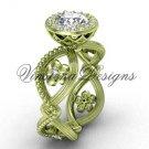 """14kt yellow gold flower engagement ring, """"Forever One"""" Moissanite VF301014"""