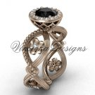 14kt rose gold flower engagement ring, Black Diamond VF301014