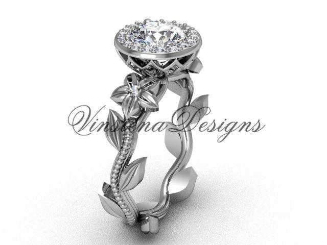 14kt white gold diamond leaf and vine engagement ring, Moissanite VF301016