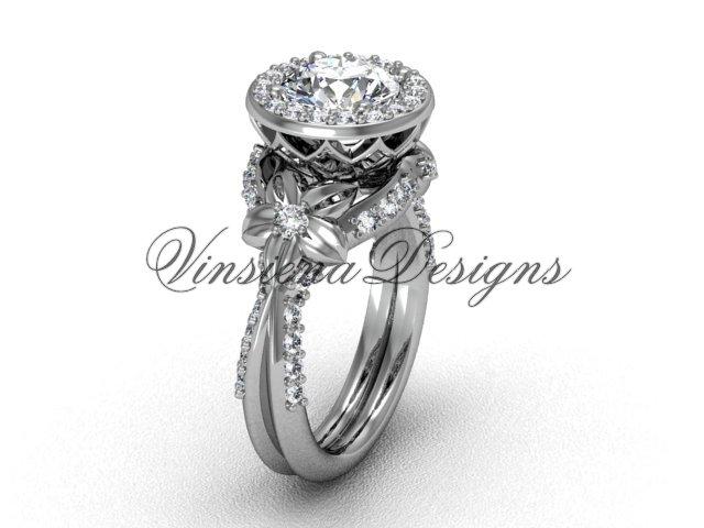 """platinum flower engagement ring, """"Forever One"""" Moissanite VF301017"""