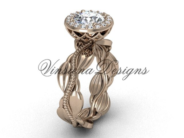 "14kt rose gold diamond leaf and vine engagement ring, ""Forever One"" Moissanite VF301021"