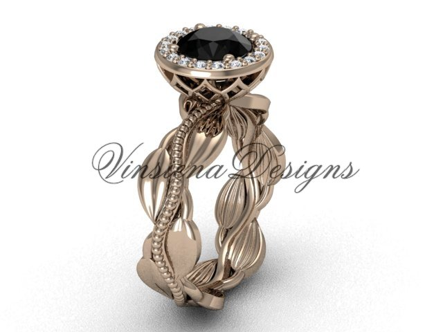 14kt rose gold diamond leaf and vine engagement ring, Black Diamond VF301021