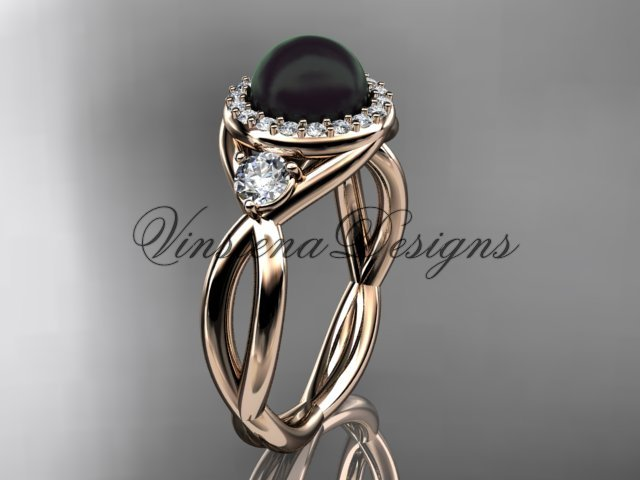 14kt rose gold diamond, Round Tahitian Black Cultured Pearl, halo engagement ring VBP8127