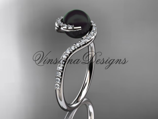 14kt white gold diamond, pearl engagement ring VBP8199