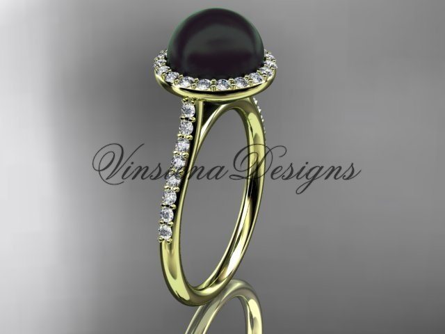 Unique 14kt yellow golddiamond, Round Tahitian Black Cultured Pearl, halo engagement ring VBP10030