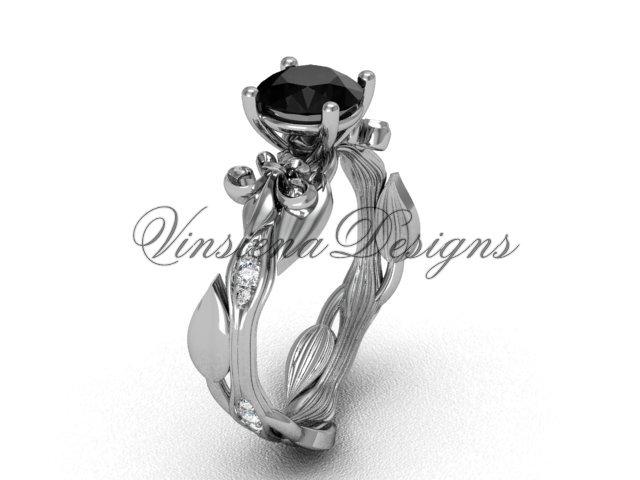 14kt white gold diamond leaf and vine, Fleur de Lis, Black Diamond engagement ring VD20831