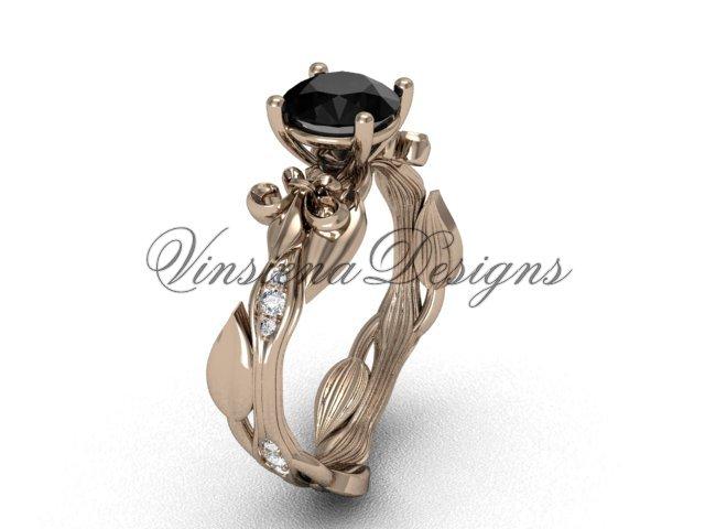 14kt rose gold diamond leaf and vine, Fleur de Lis, Black Diamond engagement ring VD20831