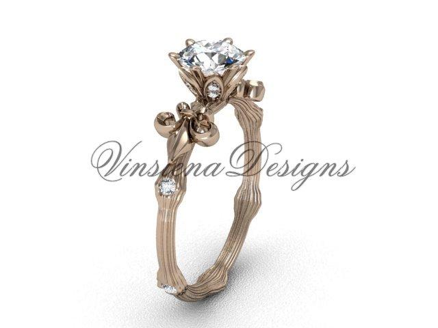 14kt rose gold diamond leaf and vine, Fleur de Lis, Moissanite engagement ring VD20838