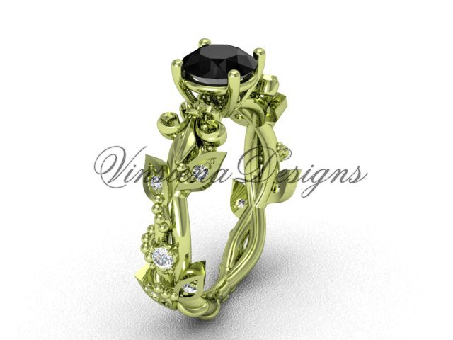 14k yellow gold diamond leaf and vine, Fleur de Lis, Black Diamond engagement ring VD20859