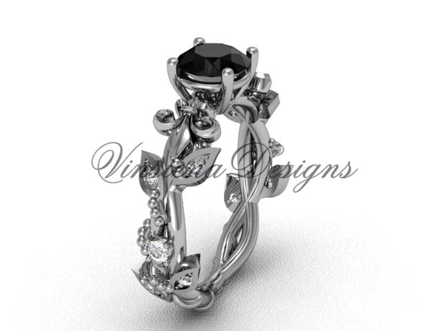Platinum  diamond leaf and vine, Fleur de Lis, Black Diamond engagement ring VD20859