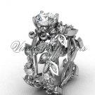 14k white gold diamond leaf and vine, Fleur de Lis engagement set VD20859S
