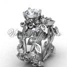 Platinum  diamond leaf and vine, Fleur de Lis engagement set VD20859S