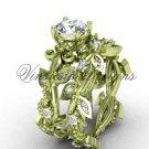 14k yellow gold diamond leaf and vine, Fleur de Lis, Moissanite engagement set VD20859S