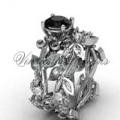 14k white gold diamond leaf and vine, Fleur de Lis, Black Diamond engagement set VD20859S