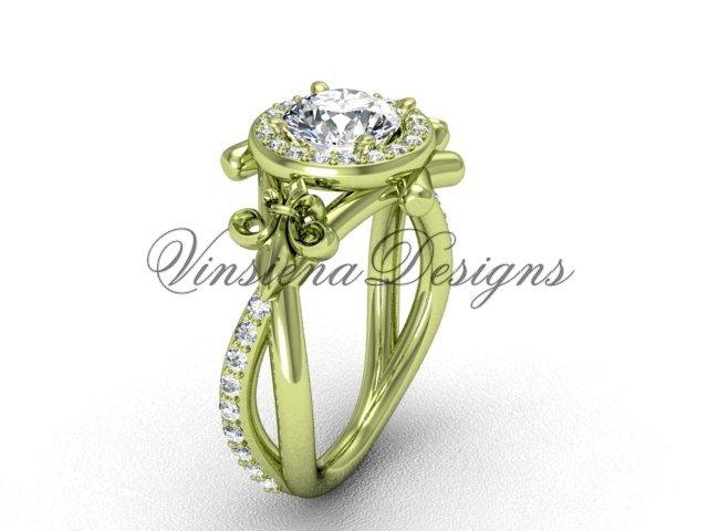 14kt yellow gold diamond Fleur de Lis, halo, eternity, Moissanite engagement ring VD20889