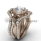14kt rose gold diamond, Fleur de Lis engagement ring with double matching band VD20889S