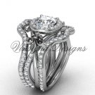 14kt white gold diamond, engagement ring with double matching band, Moissanite , VD20889S