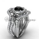 Platinum  diamond, Fleur de Lis engagement ring , Black Diamond engagement set VD20889S