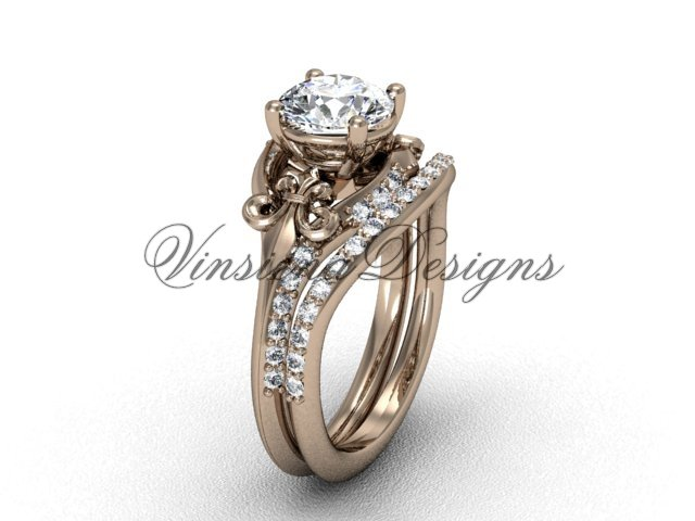 14kt rose gold diamond Fleur de Lis, eternity engagement ring, Moissanite  engagement set VD208125S