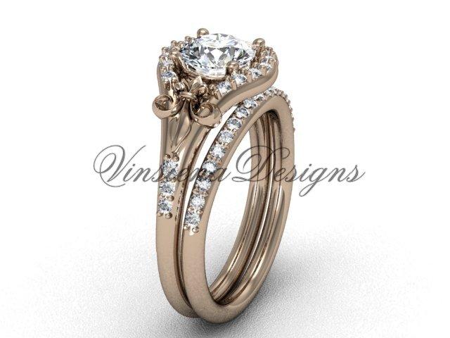 14kt rose gold diamond Fleur de Lis, eternity engagement ring, Moissanite  engagement set VD208126S
