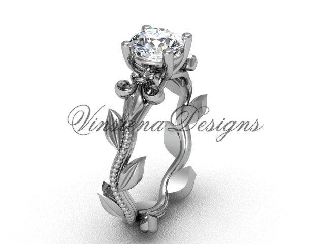 14kt white gold leaf and vine, Fleur de Lis engagement ring VD208223